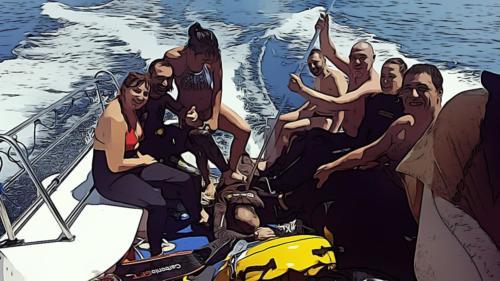 Marina, Fabio ed il gruppo Apnea FIAS 2017 agli esami ad Alassio..
